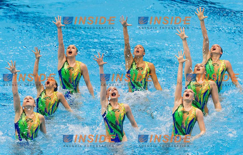 Team RUS<br /> London, Queen Elizabeth II Olympic Park Pool <br /> LEN 2016 European Aquatics Elite Championships <br /> Synchro<br /> Team technical final <br /> Day 01 09-05-2016<br /> Photo Giorgio Perottino/Deepbluemedia/Insidefoto