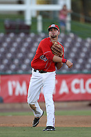 Kaleb Cowart #29 of the Inland Empire 66'ers makes a throw against the Lake Elsinore Storm at San Manuel Stadium on July 15, 2012 in San Bernardino, California. Inland Empire defeated Lake Elsinore 4-3. (Larry Goren/Four Seam Images)