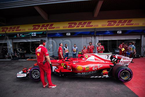 26th August 2017, Circuit de Spa-Francorchamps, Belgium; Belgium Grand Prix, Qualifying Session; Kimi RAIKKONEN from Finland  of Team Scuderia Ferrari, Ferrari SF70-H, Ferrari 062 engine waiting for the scruteering