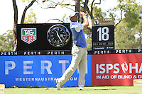 Ricardo Santos (POR) on the 18th tee during Round 1 of the ISPS HANDA Perth International at the Lake Karrinyup Country Club on Thursday 23rd October 2014.<br /> Picture:  Thos Caffrey / www.golffile.ie
