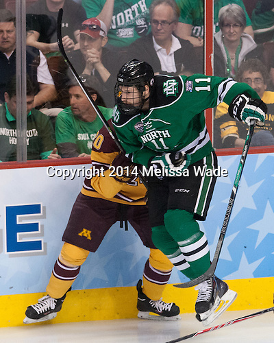 Derek Rodwell (North Dakota - 11) - The University of Minnesota Golden Gophers defeated the University of North Dakota 2-1 on Thursday, April 10, 2014, at the Wells Fargo Center in Philadelphia to advance to the Frozen Four final.
