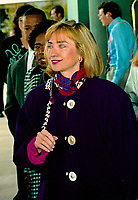 Ann Arbor, Michigan, USA, October 19, 1992<br /> Hillary Clinton walking out of the Hotel in Ann Arbor, Michigan before going to the debate at the University of Michigan. Credit: Mark Reinstein/MediaPunch
