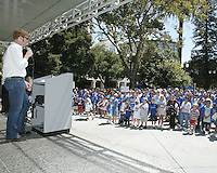 San Jose Earthquakes general manager Alexi Lalas speaks to a crowd of approximately 1,500 Earthquakes fan gathered at the Soccer Silicon Valley Rally held in downtown San Jose, CA on August 20, 2004 to show support for the club.  The non-profit Soccer Silicon Valley group hope to find a local buyer or soccer specific stadium for the Earthquakes within the next month so the team is not relocated to San Antonio or Houston, TX by its current investor/operator Anschutz Entertainment Group.