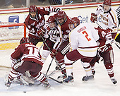 Eddie Olczyk (UMass - 16), Kevin Moore (UMass - 30), Michael Marcou (UMass - 22), Pat Mullane (BC - 11), Oleg Yevenko (UMass - 25), Brian Dumoulin (BC - 2), Troy Power (UMass - 20), Paul Carey (BC - 22) - The Boston College Eagles defeated the University of Massachusetts-Amherst Minutemen 3-2 to take their Hockey East Quarterfinal matchup in two games on Saturday, March 10, 2012, at Kelley Rink in Conte Forum in Chestnut Hill, Massachusetts.