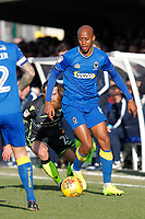 Nadjim Abdou of AFC Wimbledon during the Sky Bet League 1 match between AFC Wimbledon and Bristol Rovers at the Cherry Red Records Stadium, Kingston, England on 17 February 2018. Photo by Carlton Myrie.