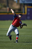 Matt Yuhas (29) of the NJIT Highlanders warms up in the outfield prior to the game against the High Point Panthers at Williard Stadium on February 18, 2017 in High Point, North Carolina. The Panthers defeated the Highlanders 11-0 in game one of a double-header. (Brian Westerholt/Four Seam Images)