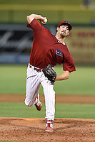 Clearwater Threshers pitcher Lee Ridenhour (34) delivers a pitch during a game against the Tampa Yankees on June 26, 2014 at Bright House Field in Clearwater, Florida.  Clearwater defeated Tampa 4-3.  (Mike Janes/Four Seam Images)