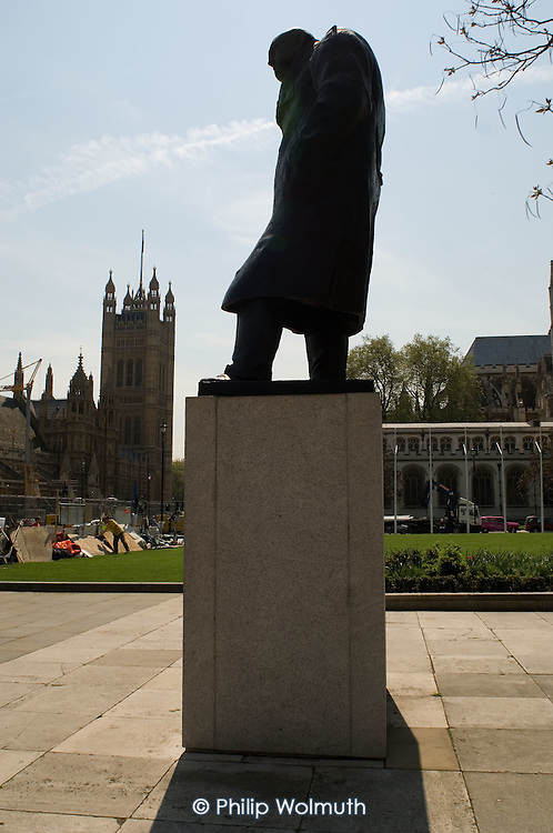 Statue of Winston Churchill in Parliament Square, London.
