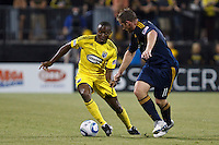 29 MAY 2010:  Emmanuel Ekpo of the Columbus Crew (17) and Galaxy's #11 Chris Birchall during MLS soccer game between LA Galaxy vs Columbus Crew at Crew Stadium in Columbus, Ohio on May 29, 2010. Galaxy defeated the Crew 2-0.