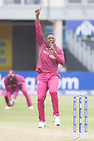 Sheldon Cottrell (West Indies) appeals for the wicket of Quinton de Kock  (South Africa) during South Africa vs West Indies, ICC World Cup Warm-Up Match Cricket at the Bristol County Ground on 26th May 2019