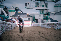 Mathieu van der Poel (NED/Corendon-Circus) once again proving to be the dominant rider of the pack &gt; crossing the sandbox<br /> <br /> men's race<br /> Soudal Jaarmarktcross Niel 2018 (BEL)