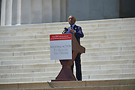 August 24, 2013  (Washington, DC)   Rev. Al Sharpton speaks to a crowd of thousands on the grounds of the Lincoln Memorial in the District of Columbia during the 50th anniversary of the 1963 March on Washington August 24, 2013.  (Photo by Don Baxter/Media Images International)