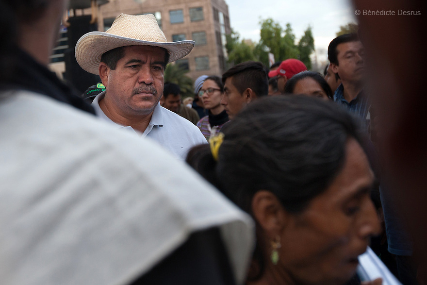 Epifanio Alvarez, father of Jorge Alvarez Nava, one of the missing students, during a march to markthe three monthssince the disappearance of 43 Ayotzinapa's teaching college students in Mexico City on December 26, 2014. The 43students went missingon Sept. 26 after confrontations in which police gunfirekilled six peopleandwoundedat least25inIguala, in Guerrero state. Alexander Mora Venancio, one of the 43 missingstudentsof Ayotzinapa, has been identified and confirmed dead by authorities. Many are demanding justice and that the search for the 42 missing students continue until there is concrete evidence to the contrary. Mexico – officially - lists more than 20 thousand people as having gone missing since the start of the country's drug war in 2006, and the search for the missing students has turned up other, unrelated mass graves.(Photo by BenedicteDesrus)