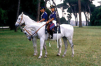 Rome  June 1987..Mounted police units..The Mounted Police  during a patrol in a park