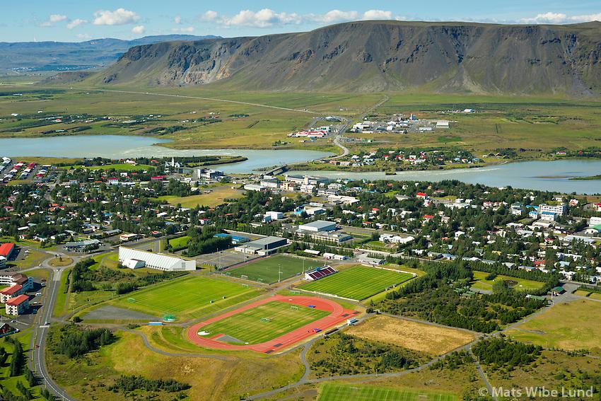 Selfoss - íþrottavellir séð til norðvesturs. Ölfusá.  Sveitarfélagið Árborg /  Selfoss sports grounds viewing northwest,  river Olfusa, Sveitarfelagid Arborg.