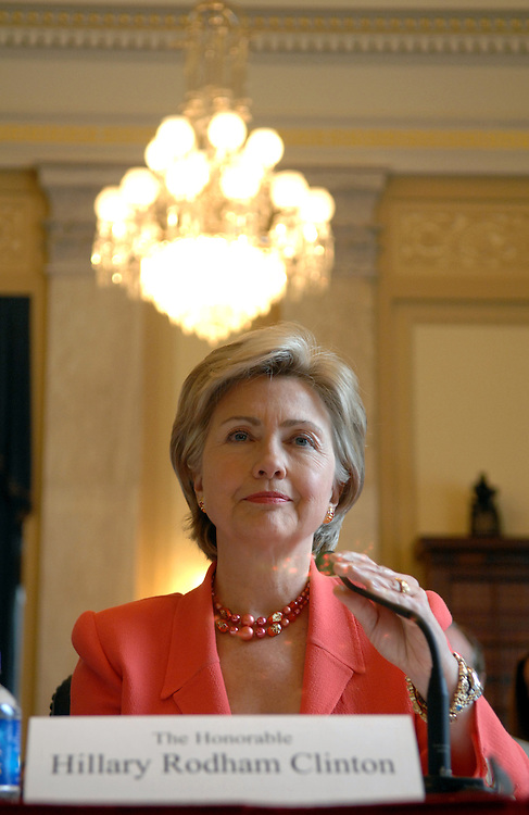 "Sen. Hillary Clinton, D-N.Y., prepares to testify at a hearing on the ""Ballot Integrity Act,"" which provides new safeguards to prevent errors and tampering at the polls among other measures to ensure voting accuracy."