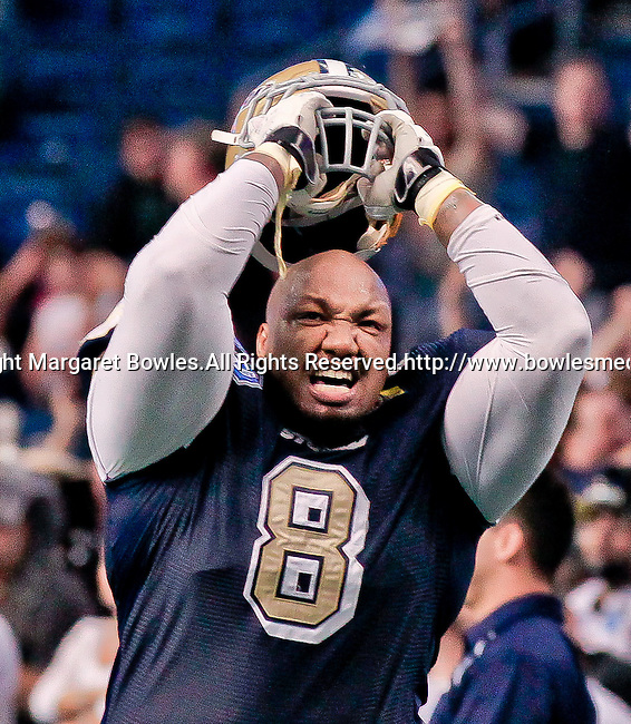 Aug 14, 2010:  Tampa Bay Storm defensive lineman Tim McGill celebrates a Storm division championship over the Orlando Predators. The Storm defeated the Predators 63-62 to win the division title at the St. Petersburg Times Forum in Tampa, Florida. (Mandatory Credit:  Margaret Bowles)