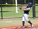 WATERBURY,  CT-071918JS16--Overlooks's Mason Lugo (34) blasts a two-RBI hit during their Roberto Clemente tournament game against the Brooklyn (NY) Bonnie's Thursday at Municipal Stadium in Waterbury. <br /> Jim Shannon Republican American