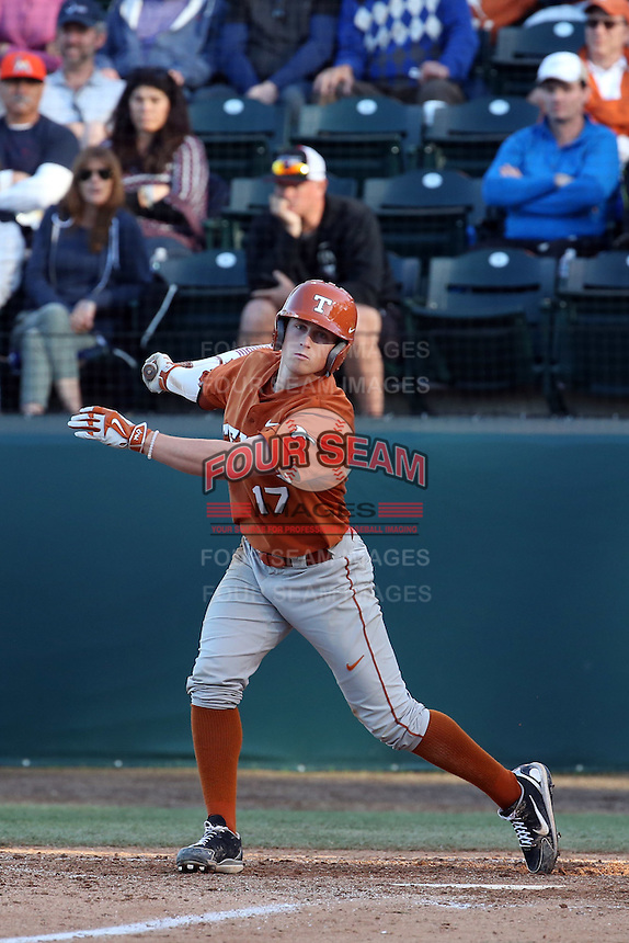Bret Boswell (17) of the Texas Longhorns bats against the UCLA Bruins at Jackie Robinson Stadium on March 12, 2016 in Los Angeles, California. UCLA defeated Texas, 5-4. (Larry Goren/Four Seam Images)