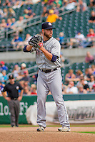 Colorado Springs Sky Sox pitcher Damien Magnifico (33) on the mound during a game against the Iowa Cubs on September 4, 2016 at Principal Park in Des Moines, Iowa. Iowa defeated Colorado Springs 5-1. (Brad Krause/Four Seam Images)