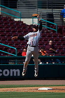Inland Empire 66ers third baseman Franklin Torres (46) during a California League game against the Lake Elsinore Storm on April 14, 2019 at The Diamond in Lake Elsinore, California. Lake Elsinore defeated Inland Empire 5-3. (Zachary Lucy/Four Seam Images)