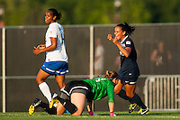 Sky Blue FC midfielder Taylor Lytle (6) celebrates scoring. Sky Blue FC defeated the Boston Breakers 5-1 during a National Women's Soccer League (NWSL) match at Yurcak Field in Piscataway, NJ, on June 1, 2013.