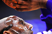 Kobe Bryant of the Lakers wears a protective mask to protect his broken nose warms up prior to tip-off against the Washington Wizards at the Verizon Center in Washington, D.C. on Wednesday, March 7, 2012. Alan P. Santos/DC Sports Box