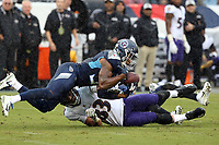 Tennessee Titans Safety Kevin Byard #31 in action during an NFL football game between the Baltimore Ravens and the Tennessee Titans, Sunday, Oct. 14, 2018 in Nashville, Tenn. (Photo by Michael Zito/AP Images for Panini)
