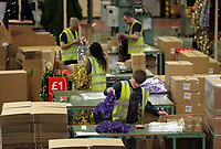 Pictured: Workers on the factory floor. Thursday 16 November 2017<br /> Re: Festive company which manufactures tinsel in Cwmbran, Wales, UK.