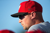 Hickory Crawdads manager Corey Ragsdale (24) watches the action from the dugout during the game against the Kannapolis Intimidators at CMC-Northeast Stadium on May 22, 2015 in Kannapolis, North Carolina.  The Intimidators defeated the Crawdads 4-3.  (Brian Westerholt/Four Seam Images)