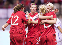Vancouver, Canada - Tuesday January 24, 2012: Canada defeats Costa Rica 5-1 in a 2012 CONCACAF Women's Olympic Qualifying match Monday Jan. 23, 2012 at BC Place in Vancouver, BC.