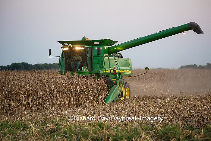 63801-07004 Farmer harvesting corn, Marion Co., IL