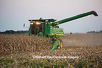 63801-07004 Farmer harvesting corn, Marion Co., IL
