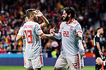 Isco Alarcon of Spain (R) celebrating his score with Jordi Alba (L) during the International Friendly 2018 match between Spain and Argentina at Wanda Metropolitano Stadium on 27 March 2018 in Madrid, Spain. Photo by Diego Souto / Power Sport Images