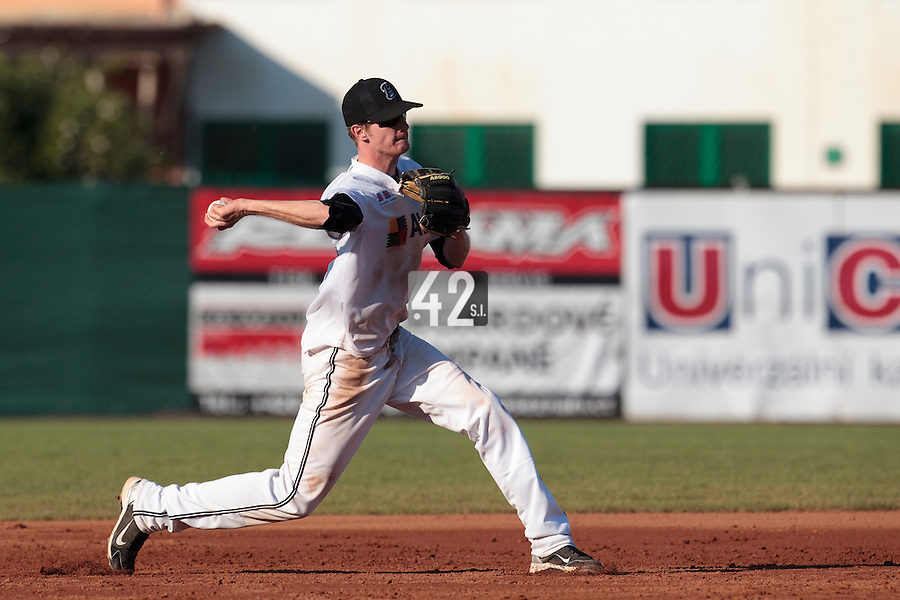 06 June 2010: SS Jakub Hajtmar of AVG Draci Brno throws the ball to first base during the 2010 Baseball European Cup match won 10-8 by the Rouen Huskies over AVG Draci Brno, at the AVG Arena, in Brno, Czech Republic.