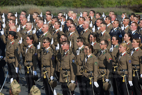 Army officers graduating from the National University of Public Service take their oath of office during a ceremony in front of the Parliament on the Hungarian national holiday celebrating the foundation of the State in Budapest, Hungary  on Aug. 20, 2018. ATTILA VOLGYI