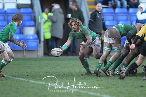 1.2.2014, Coventry, England.  Aaron Myers (Wharfedale) passes from the back of the scrum during the Division One fixture between Coventry and Wharfedale RFC from the Butts Park Arena.