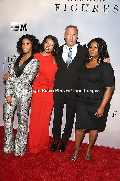 Janelle Monae,Taraji P Henson, Kevin Costner and Octavia Spencerattends &quot;Hidden Figures&quot; Special Screening on December 10, 2016 at SVA Theatre in New York, New York, USA.<br /> <br /> photo by Robin Platzer/Twin Images<br />  <br /> phone number 212-935-0770