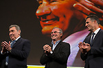 5 time winners Eddy Merckx (BEL), Bernard Hinault (FRA) and Miguel Indurain (ESP) on stage at the Tour de France 2019 route presentation held at Palais de Congress, Paris, France. 25th October 2018.<br />