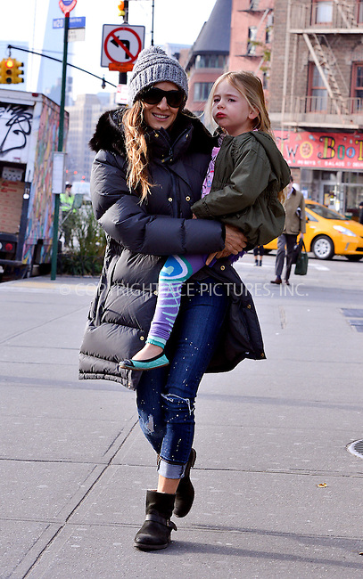 WWW.ACEPIXS.COM<br /> <br /> November 15 2013, New York City<br /> <br /> Actress Sarah Jessica Parker takes her daughter Marion Broderick to school in the West Village on November 15 2013 in New York City<br /> <br /> By Line: Curtis Means/ACE Pictures<br /> <br /> <br /> ACE Pictures, Inc.<br /> tel: 646 769 0430<br /> Email: info@acepixs.com<br /> www.acepixs.com