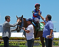 HALLANDALE BEACH, FL - JULY 01:   #5 Rose to Fame (KY) wth jockey Edgar Zayas, prepares for the winner's circle after winning the Brave Raj  Stakes for 2 year old fillies, on Summit Of Speed Day at Gulfstream Park on July 01, 2017 in Hallandale Beach, Florida. (Photo by Liz Lamont/Eclipse Sportswire/Getty Images)