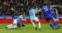 Manchester City's Gabriel Jesus competing with Leicester City's Hamza Choudhury<br /> <br /> Photographer Andrew Kearns/CameraSport<br /> <br /> English League Cup - Carabao Cup Quarter Final - Leicester City v Manchester City - Tuesday 18th December 2018 - King Power Stadium - Leicester<br />  <br /> World Copyright © 2018 CameraSport. All rights reserved. 43 Linden Ave. Countesthorpe. Leicester. England. LE8 5PG - Tel: +44 (0) 116 277 4147 - admin@camerasport.com - www.camerasport.com