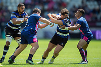 Nathan Catt of Bath Rugby takes on the Stade Francais defence. European Rugby Challenge Cup Semi Final, between Stade Francais and Bath Rugby on April 23, 2017 at the Stade Jean-Bouin in Paris, France. Photo by: Patrick Khachfe / Onside Images