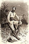 Verney Lovett Cameron (1844-1894) English explorer in Central Africa. Born at Radipole near Weymouth, Dorset. Engraving after a photograph published in 1877 the year Cameron's travels were published under the title of Across Africa.  From Le Voleur (Paris, 2 March 1877). Engraving.