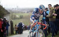 Kevin Van Melsen (BEL/Wanty-Groupe Gobert) leads the race solo on top of the Paterberg<br /> <br /> 71st Dwars door Vlaanderen (1.HC)