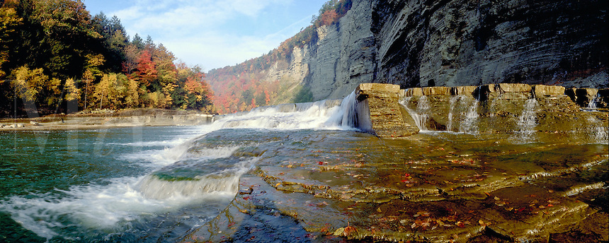 Upper Lower Little Middle Falls in Genesee river gorge in Letchworth State Park. Castile New York United States Letchworth State Park.