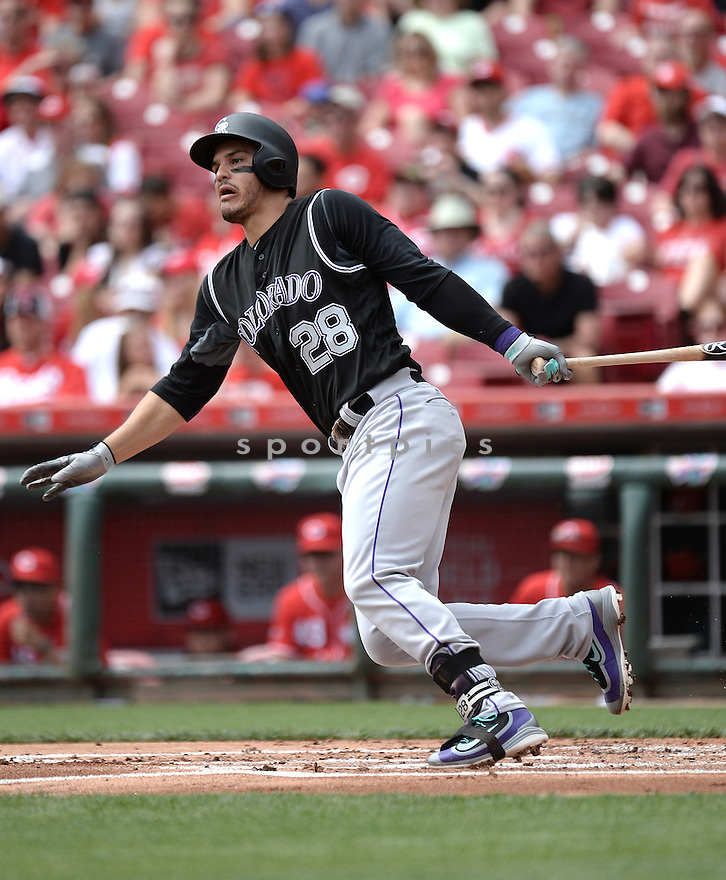 Colorado Rockies Nolan Arenado (28) during a game against the Cincinnati Reds on April 20, 2016 at the Great American Ball Park in Cincinnati, OH. The Reds beat the Rockies 6-5.