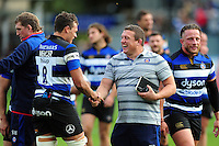 Bath Rugby first team coach Toby Booth has a word with debutant Zach Mercer after the match. Aviva Premiership match, between Bath Rugby and Newcastle Falcons on September 10, 2016 at the Recreation Ground in Bath, England. Photo by: Patrick Khachfe / Onside Images