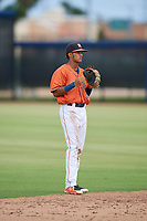 GCL Astros shortstop Deury Carrasco (6) during a game against the GCL Nationals on August 6, 2018 at FITTEAM Ballpark of the Palm Beaches in West Palm Beach, Florida.  GCL Astros defeated GCL Nationals 3-0.  (Mike Janes/Four Seam Images)