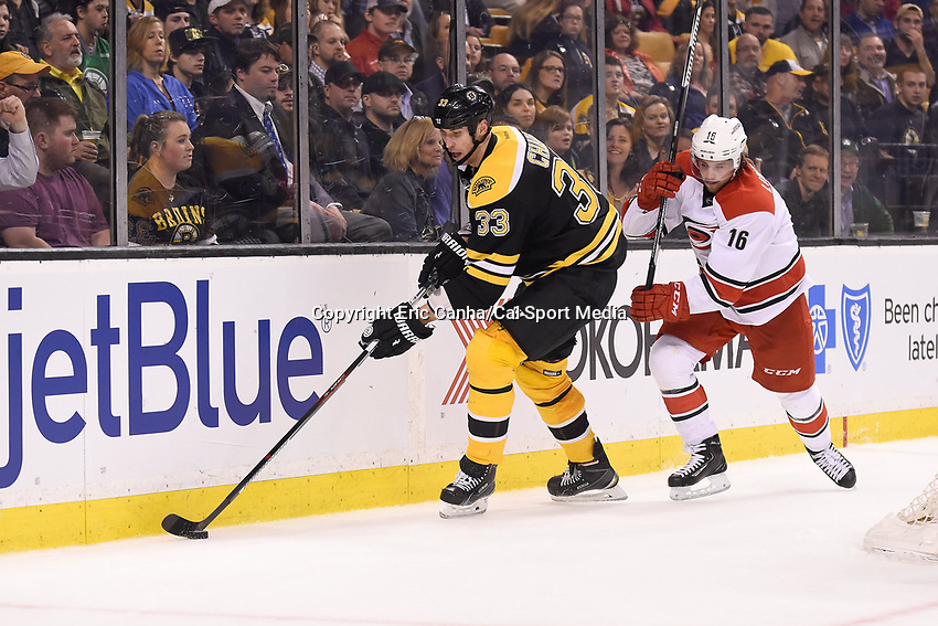 Thursday, March 10, 2016: Boston Bruins defenseman Zdeno Chara (33) controls the puck in the back of his defensive zone during the National Hockey League game between the Carolina Hurricanes and the Boston Bruins held at TD Garden, in Boston, Massachusetts. Carolina beats Boston 3-2 in overtime. Eric Canha/CSM